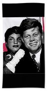 Jackie And Jack Kennedy In A Photo Booth Snap No Known Location 1953-2013 Beach Towel