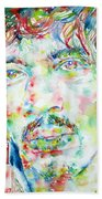 Jimi Hendrix Watercolor Portrait.1 Beach Towel