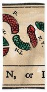 Join Or Die Cartoon 1754 Beach Towel by Benjamin Franklin