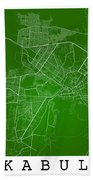 Kabul Street Map - Kabul Afghanistan Road Map Art On Colored Bac Beach Towel