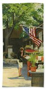 Kirkwood Farmers Market American Flag Beach Towel