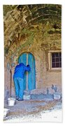 Knocking On A Blue Door Of Tufa Home In Goreme In Cappadocia-turkey  Beach Towel
