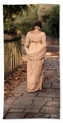 Lady In Regency Dress Walking Beach Towel