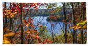 Lake And Fall Forest Beach Towel