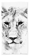 Lion Portrait Beach Towel