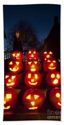 Lit Pumpkins With Demon On Halloween Beach Towel