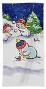 Little Snowmen Snowballing Beach Towel