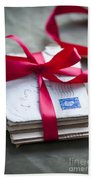 Love Letters Tied With Ribbon Beach Towel