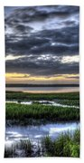 Cloud Reflections Over The Marsh Beach Towel