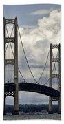 Mackinaw Bridge By The Straits Of Mackinac Beach Towel