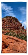 Madonna And Child Two Nuns Rock Formations Sedona Arizona Beach Towel