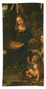 Madonna Of The Rocks Beach Towel by Leonardo da Vinci