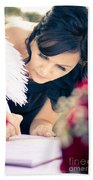 Maid Of Honour Signing Wedding Registar Beach Towel