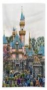 Main Street Sleeping Beauty Castle Disneyland 01 Beach Towel