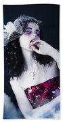 Makeup Beauty With Gothic Hair And Bloody Mouth Beach Towel