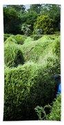 Man Lost Inside A Maze Or Labyrinth Beach Towel
