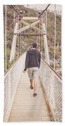 Man On Alexandra Suspension Bridge In Tasmania Beach Towel