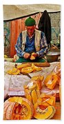 Man Peeling Squash In Antalya Street Market-turkey Beach Towel