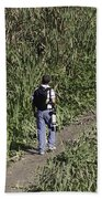 Man With A Canon Camera And Lens In Greenery Beach Towel