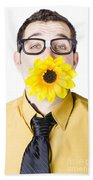 Man With Flower In Mouth Beach Towel