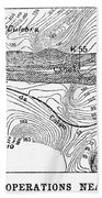 Map Panama Canal, 1885 Beach Towel