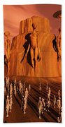 Martians Gathering Around A Monument Beach Towel