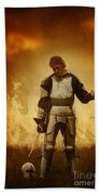 Medieval Knight On A Burning Battlefield Beach Towel