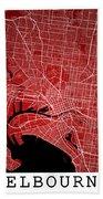 Melbourne Street Map - Melbourne Australia Road Map Art On Color Beach Towel