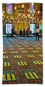 Men Inside The Blue Mosque In Istanbul-turkey Beach Towel