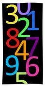 Multi-color Numbers Beach Towel