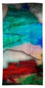 Nashville Skyline And Map Watercolor Beach Towel by Marvin Blaine