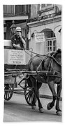 New Orleans - Carriage Ride Bw Beach Towel