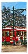 New Orleans Streetcar Painted Beach Towel
