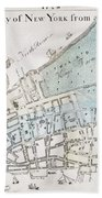 New York City Map, 1728 Beach Towel