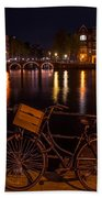 Night Lights On The Amsterdam Canals. Holland Beach Towel