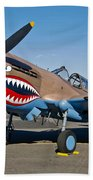 Nose Art On A Curtiss P-40e Warhawk Beach Towel