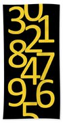 Numbers In Yellow And Black Beach Towel