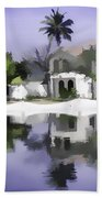 Oil Painting - Cottages And Lagoon Water Beach Towel