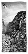 Old Bicycles On A Sunday Morning Beach Towel by Debra and Dave Vanderlaan