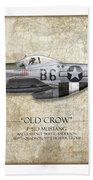 Old Crow P-51 Mustang - Map Background Beach Towel