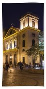 Old Portuguese Colonial Church In Macau Macao China Beach Towel