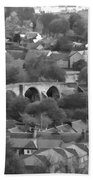 Old Stirling Bridge And Houses As Visible From Stirling Castle Beach Towel