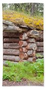 Old Traditional Log Cabin Rotting In Yukon Taiga Beach Towel