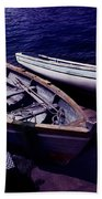 Old Wooden Boats At Night Beach Towel