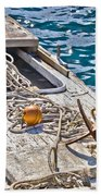 Old Wooden Fishing Boat Detail Beach Towel