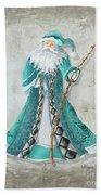 Old World Style Turquoise Aqua Teal Santa Claus Christmas Art By Megan Duncanson Beach Towel