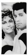 Olivia Newton John And John Travolta In Grease Collage Beach Towel