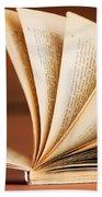 Open Book In Retro Style Beach Towel by Michal Bednarek
