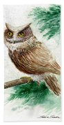 Owl Study Beach Towel
