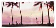 Palm Trees On The Beach, Waikiki Beach Towel